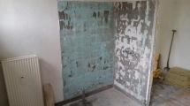 gammel væg i badeværelset, fliser fjernet